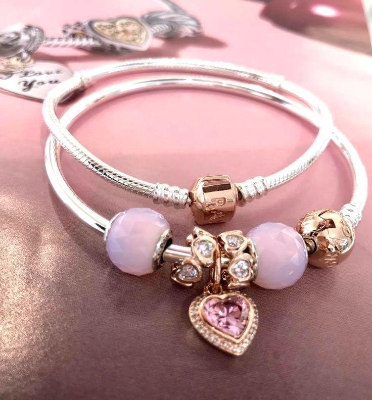 Opalescent Pink Geometric Facets charms with PANDORA Rose are divine! #PANDORATexas #PANDORAbracelet #PANDORARose #jewelrypandora
