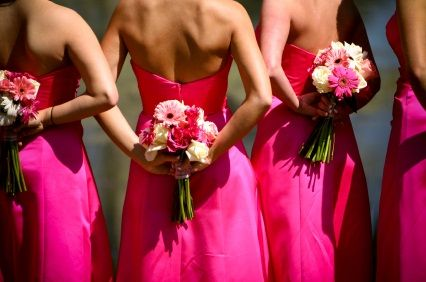 Gerber daisy bridesmaid bouquets pink gowns holding pink gerber daisy bridesmaid bouquets pink gowns holding pink bridesmaid bouquets in pink mightylinksfo