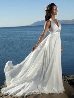 62e13b9a382 Empire V-neck Court Trains Sleeveless Chiffon Beach Wedding Dresses For  Brides