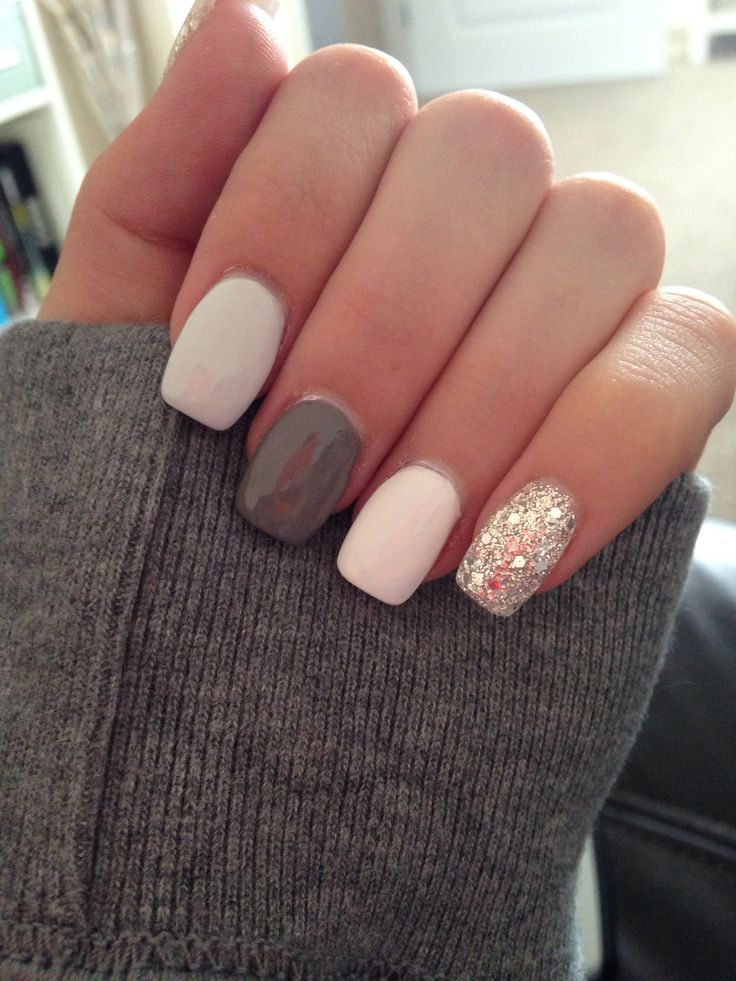 Grey White And Silver Glitter Acrylic Nails