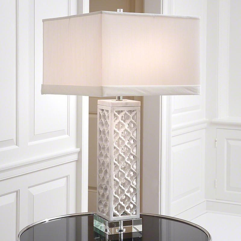 Square Arabesque Marble Lamp Global Views Modern Lamp Table Marble Lamp Marble Table Lamp Table Lamp