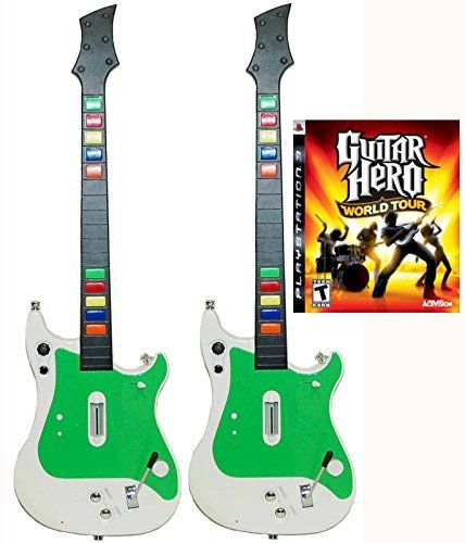 playstation 3 ps3 2x wireless guitar controllers guitar hero world tour video game kit bundle. Black Bedroom Furniture Sets. Home Design Ideas