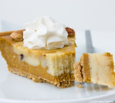 Pretty Swirled Cheesecake Pumpkin Pie. Healthy. Happy. Life.