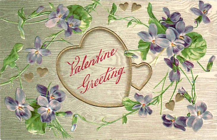 Vintage Postcard Valentine Hear with Violets (Vintage Postcards ...
