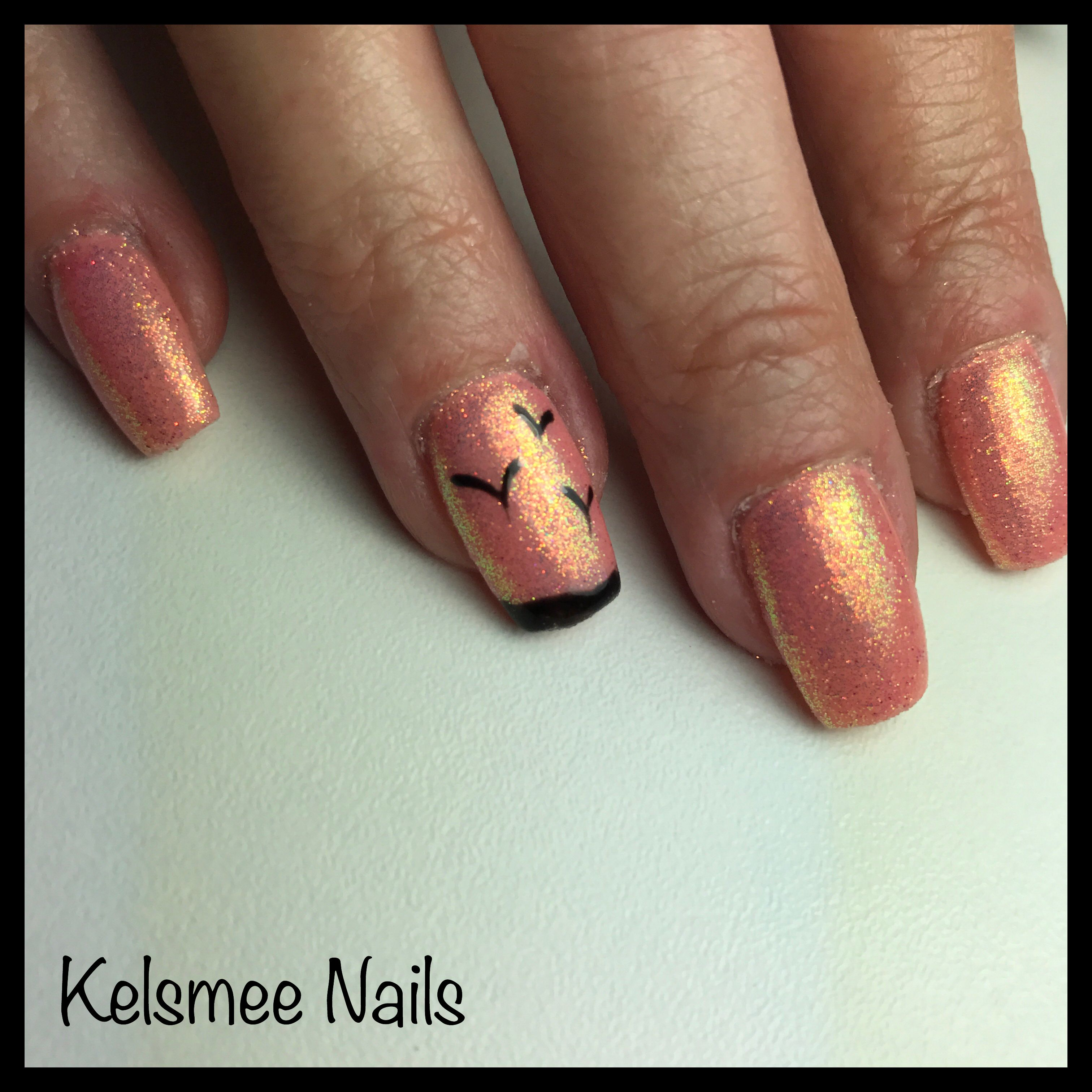 Orange nails, glitterpress and Some birds   Nail Art   Pinterest ...