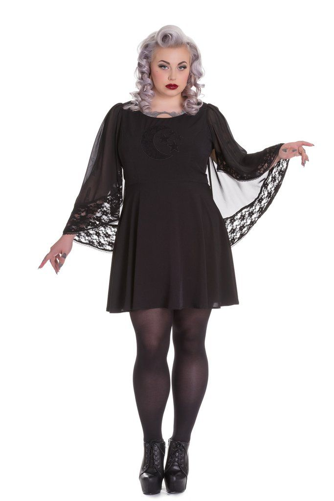 1fccba53a7519 Spin Doctor Plus Size Bewitched Black Moon   Stars Sheer Lace Wing Sleeves  Black Dress