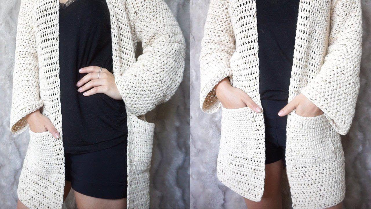 CARDIGAN DE CROCHET FACIL - CON MEDIDAS | Danii\'s Ways ♡ | Moda ...