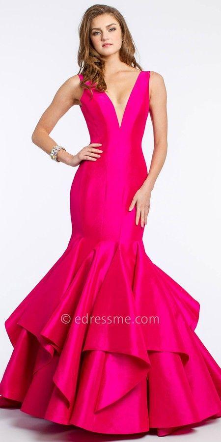 Jovani V-Neck Taffeta Mermaid Prom Dress - ShopStyle Evening ...