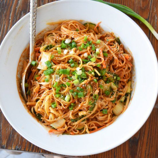 Delicious spicy peanutty noodles. So easy to whip up and serve hot or cold!