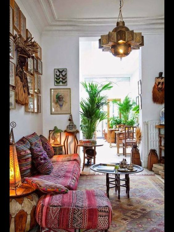 love the moroccan style light and all the mixtures of rugs and