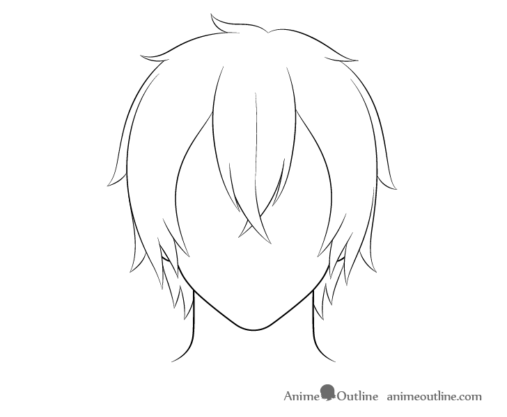 How To Draw Anime Male Hair Step By Step Animeoutline In 2020 Manga Hair How To Draw Hair Anime Boy Hair