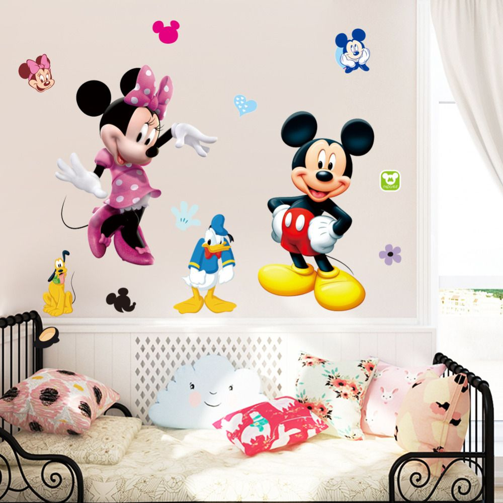 Removable pvc large cartoon mickey mouse wall sticker minnie mouse removable pvc large cartoon mickey mouse wall sticker minnie mouse room decor wall decal bedroom poster amipublicfo Image collections