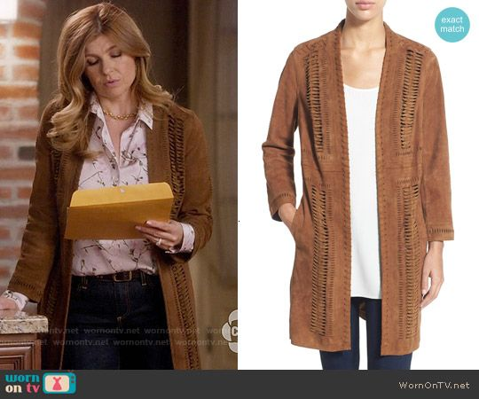 276926a84b0220 Rayna s suede coat with braided detail on Nashville. Outfit Details   https