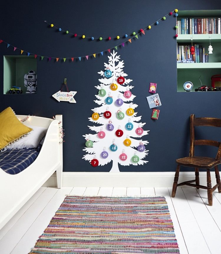 Adventskalender an der wand im kinderzimmer advent calendar pinterest adventskalender - Weihnachtsdeko kinderzimmer ...