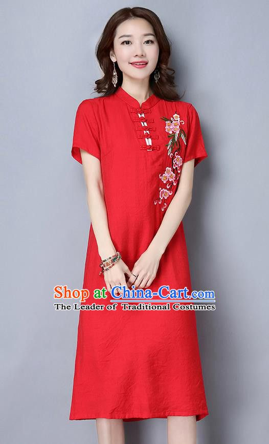 8c33aa9fb Traditional Ancient Chinese National Costume, Elegant Hanfu Mandarin Qipao  Embroidered Peach Blossom Red Dress,