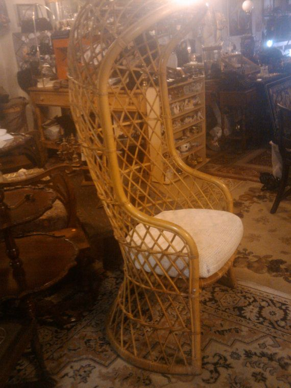 Etsy Midcentury Hollywood Regency Rattan Whicker Overhead Throne Chair  Located Philadelphia Pick Up Only Or You