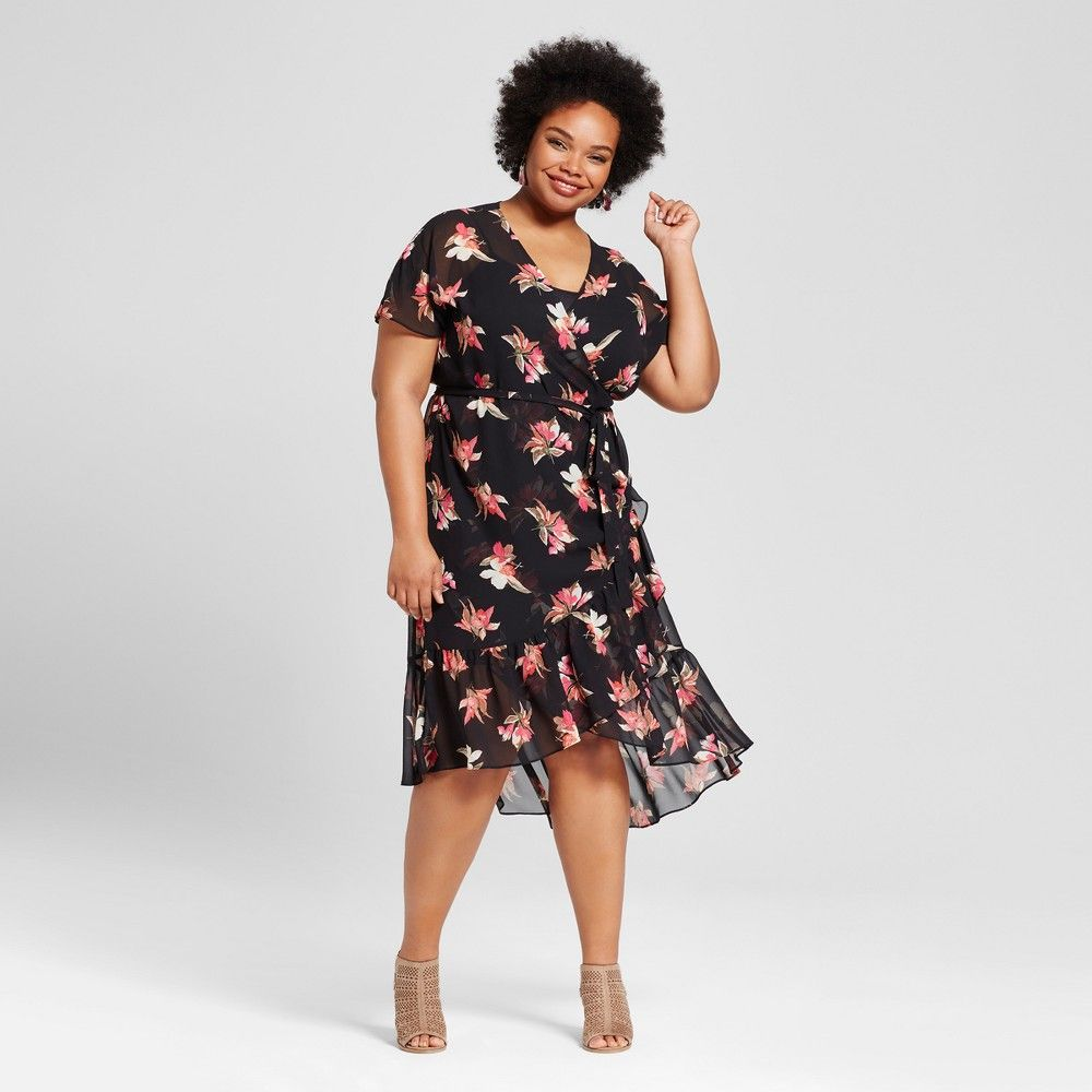 Womens Plus Size Feminine Wrap Maxi Dress Ava Viv Black Floral