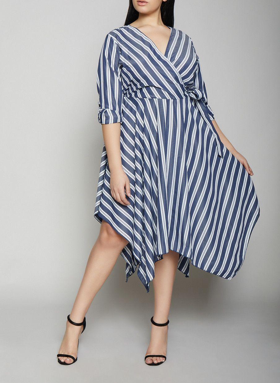 4de82347198 Plus Size Striped Faux Wrap Dress - NAVY - Size 3X