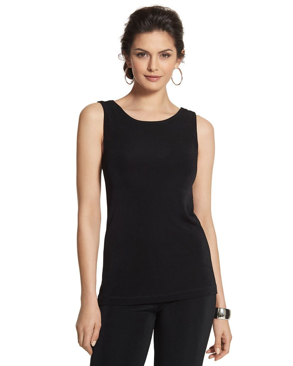a1ca283ad18b3d Chico's Women's Travelers Classic Essential Reversible Tank, Black, Size: 3  (16/18 XL)