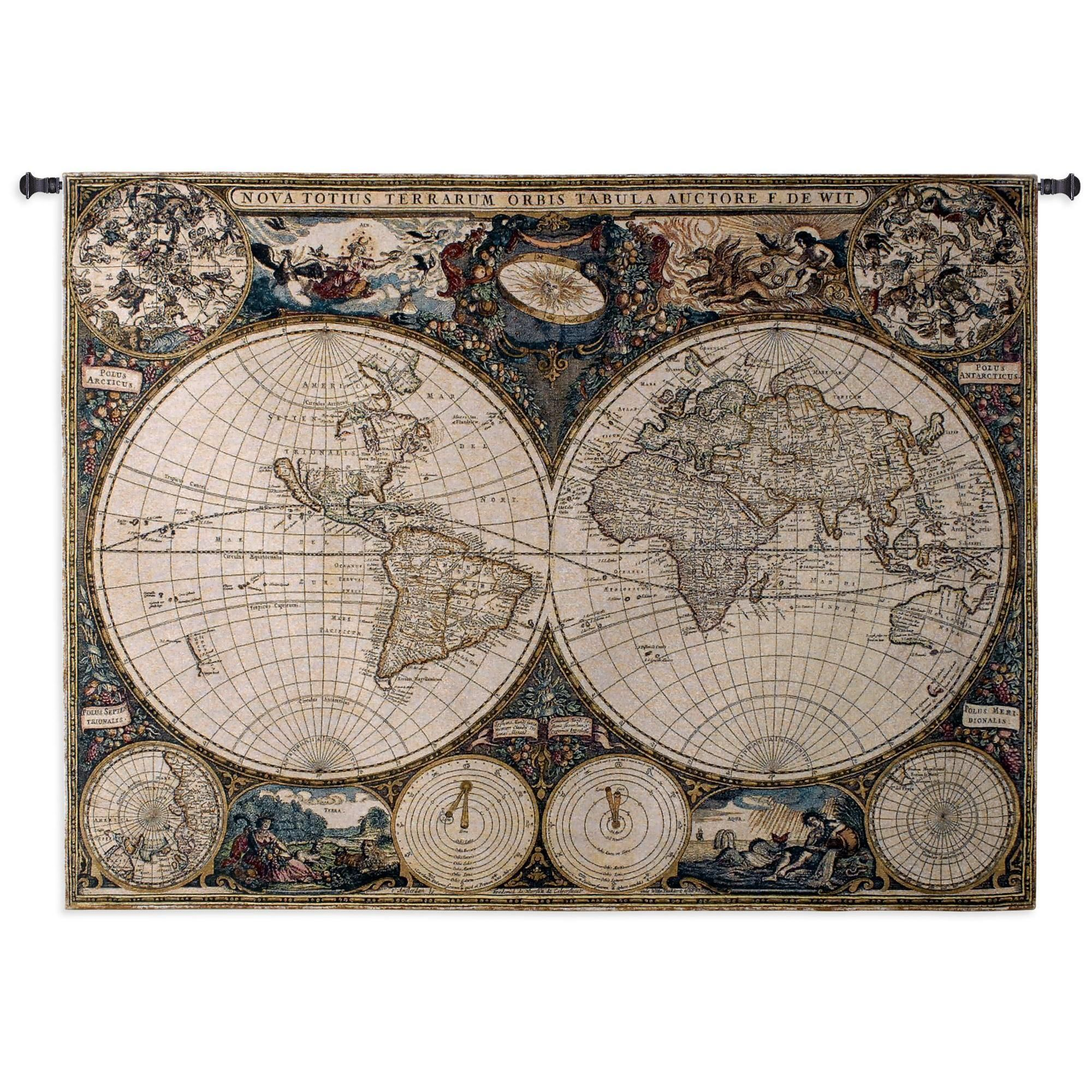 Fine art tapestries old world map wall tapestry blended color waves fine art tapestries old world map wall tapestry blended color waves multi gumiabroncs Choice Image