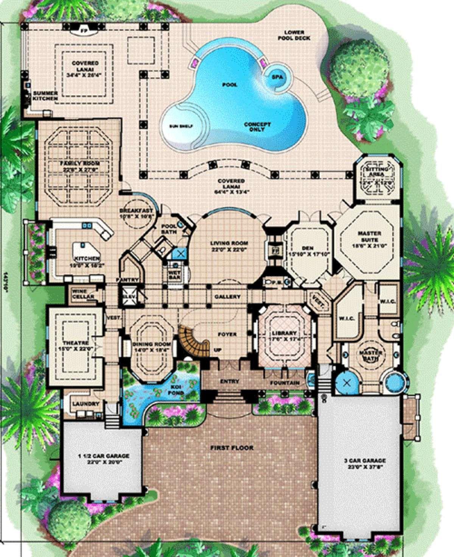 House Plan 1018 00196 Florida Plan 7 441 Square Feet 4 7 Bedrooms 6 Bathrooms Mediterranean Style House Plans Mediterranean House Plan House Floor Plans