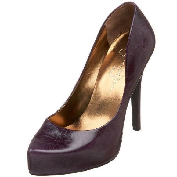 Jessica Simpson Eggplant Onyx Leather Pumps