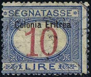 Italian Eritrea 1903, Segnatasse, prima emissione, i due alti valori 5+10 Lire, usati, entrambi con in piccolo taglietto (Sass. 10-11/1375 EUR)  Dealer Fila...