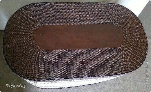 Поделка изделие Плетение Небольшая корзинка Бумага газетная Картон Клей Проволока фото 11