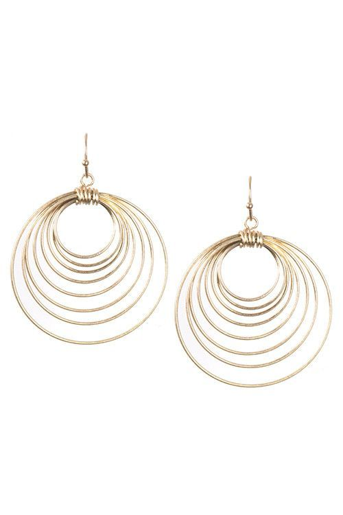 CHIC MULTI ROUND WIRE DANGLE EARRING