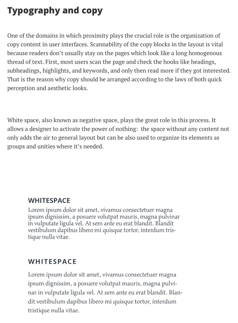 Gestalt: Proximity with copy