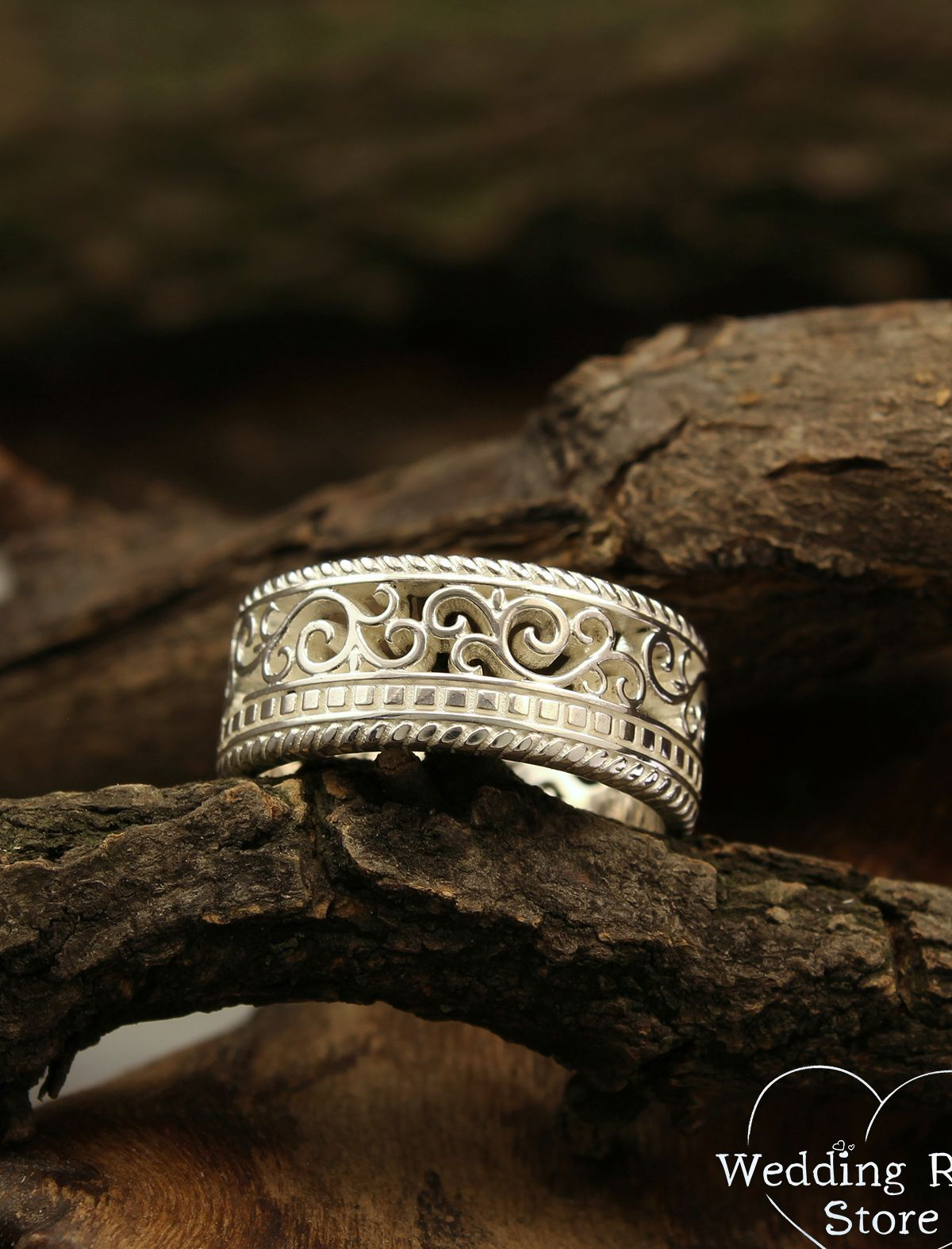 Filigree and vine vintage style wedding band, Silver