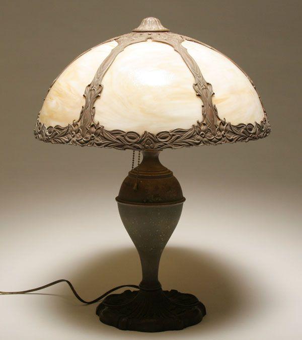 Caramel slag glass lamp; white metal base | Lamp's | Pinterest ...