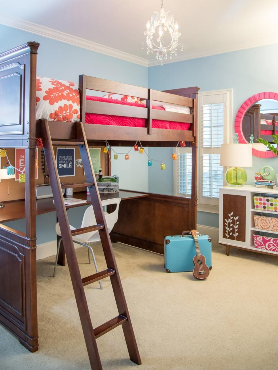 This bright teen girl\'s room features a space-saving loft bed from ...