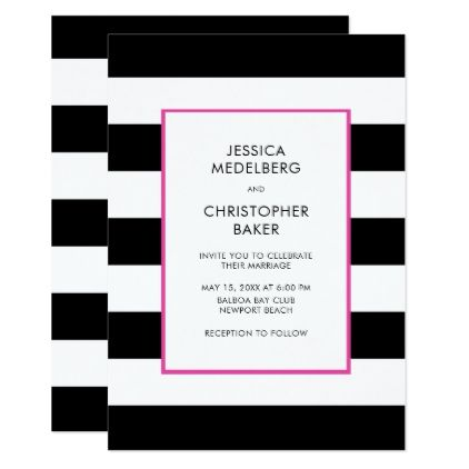 Elegant Modern Bold Black White Hot Pink Stripe Card - black and white gifts unique special b&w style
