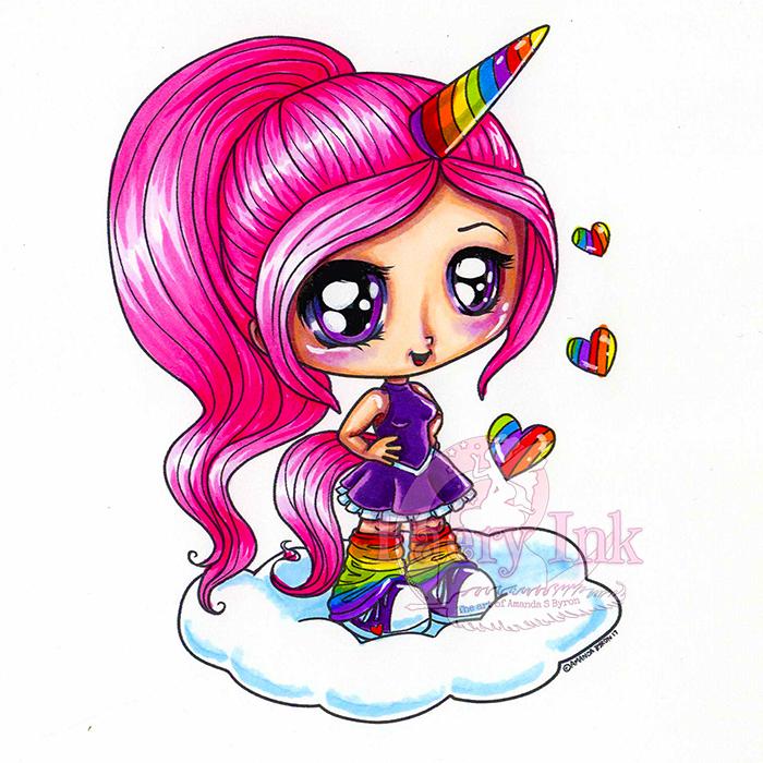 Unicorn Love Digital Stamps Bundle | Chibi unicorn ...