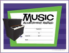 Free Printable General Music Award Certificates - http://makingmusicfun.net/htm/printit_award.htm