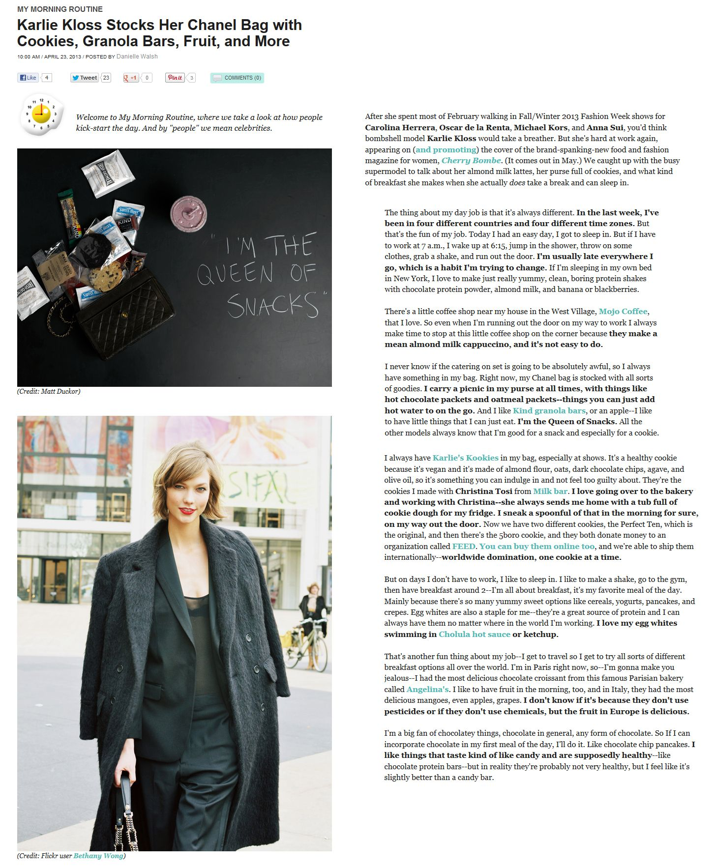"""#KarlieKloss talks to @BonApitit about her """"Life In the Fast Lane"""", morning routine, & favorite #healthy breakfast meal. #Model #Supermodel #VSAngel #Vogue"""