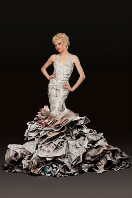 Fashion And Art Trend Recycled Fashion Beautiful Dresses Made Out Of Newspaper Crazy Dresses Paper Dress Recycled Dress