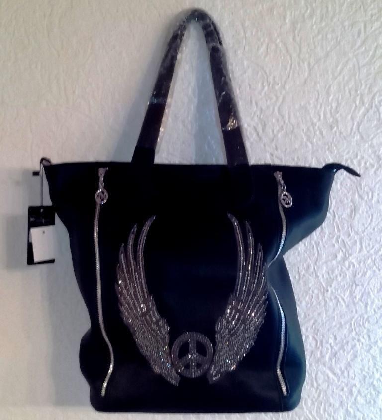 Handtasche mit Peace-Zeichen und Flügel in Strass-Optik ...