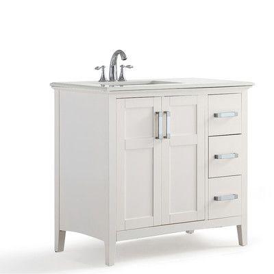 Simpli Home Winston Left Offset 37 Single Bathroom Vanity Set White Vanity Bathroom Marble Vanity Tops Single Bathroom Vanity
