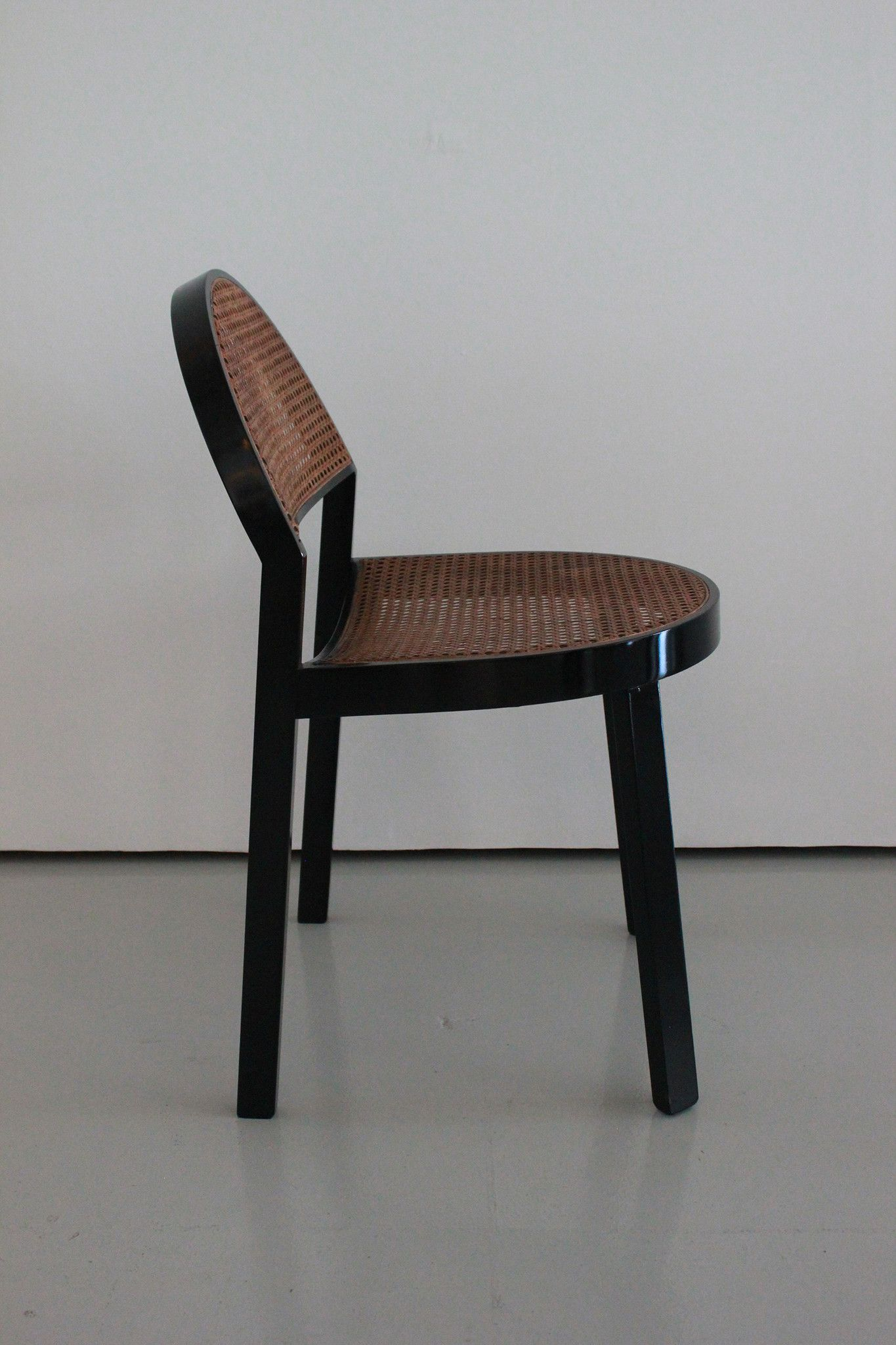 Set of Six Black Wood and Caned Dining Chairs by Jonathan De Pas