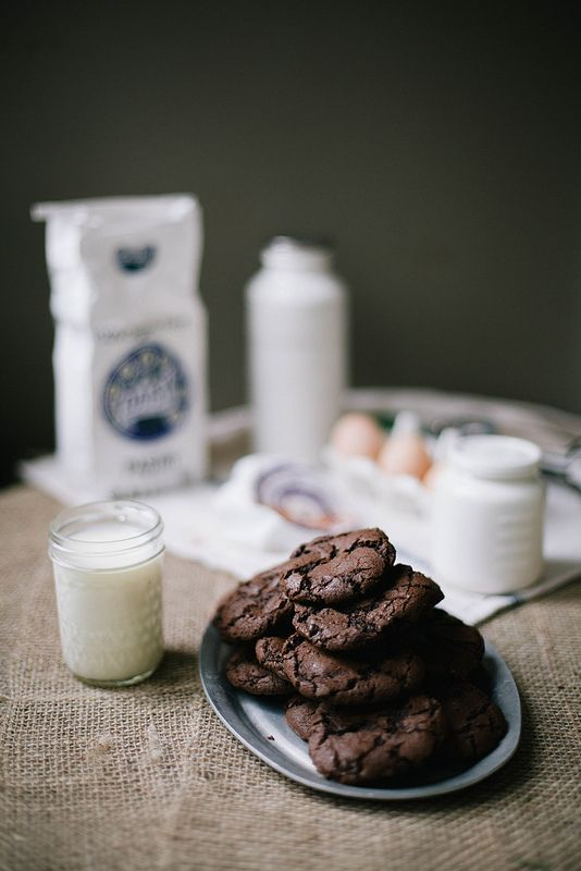 salted spicy double chocolate cookies *******(I added 1/4C. MOLASSES, 1TSP GROUND GINGER, 2TSP CINNAMON, 1/2TSP GROUND CLOVES) *could have added a bit more cayenne. FROZE FOR 1 HOUR THEN BAKED.. YUMM!