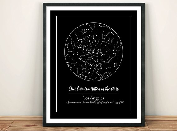 star map of specific date Custom Night Sky Wedding Custom Star Map Printable Our First Date