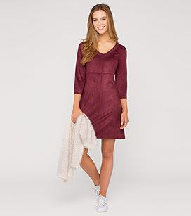 Kleid In Veloursleder Optik In Der Farbe Bordeaux Bei C A Style