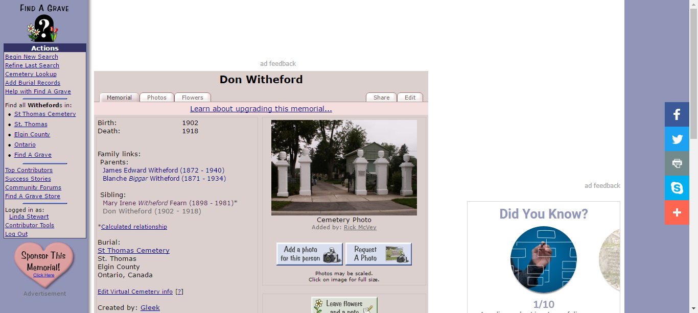 Don Witheford (1902 1918) Find A Grave Memorial