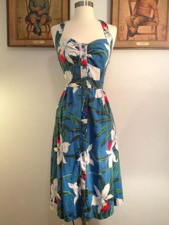 1980s Hawaiian halter tube dress