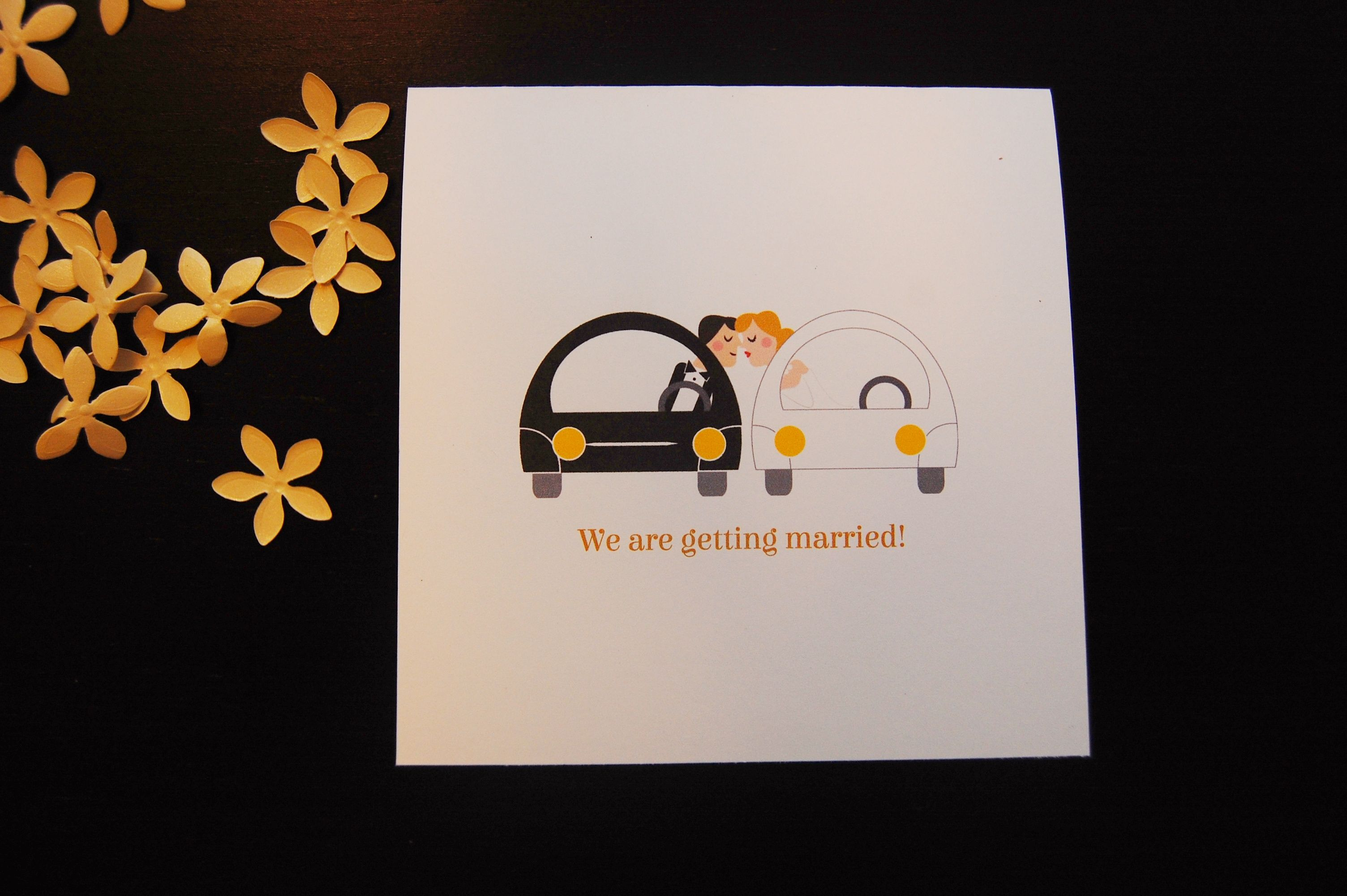 Cars and couple - wedding card  by Camile Corh