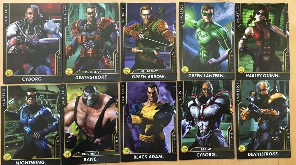 Lot Of 10 Injustice Gods Among Us Arcade Regular Cards Series 2 Comic Book Cover Injustice Cards