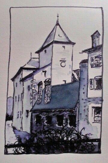 Annecy aquarelle haute savoie france