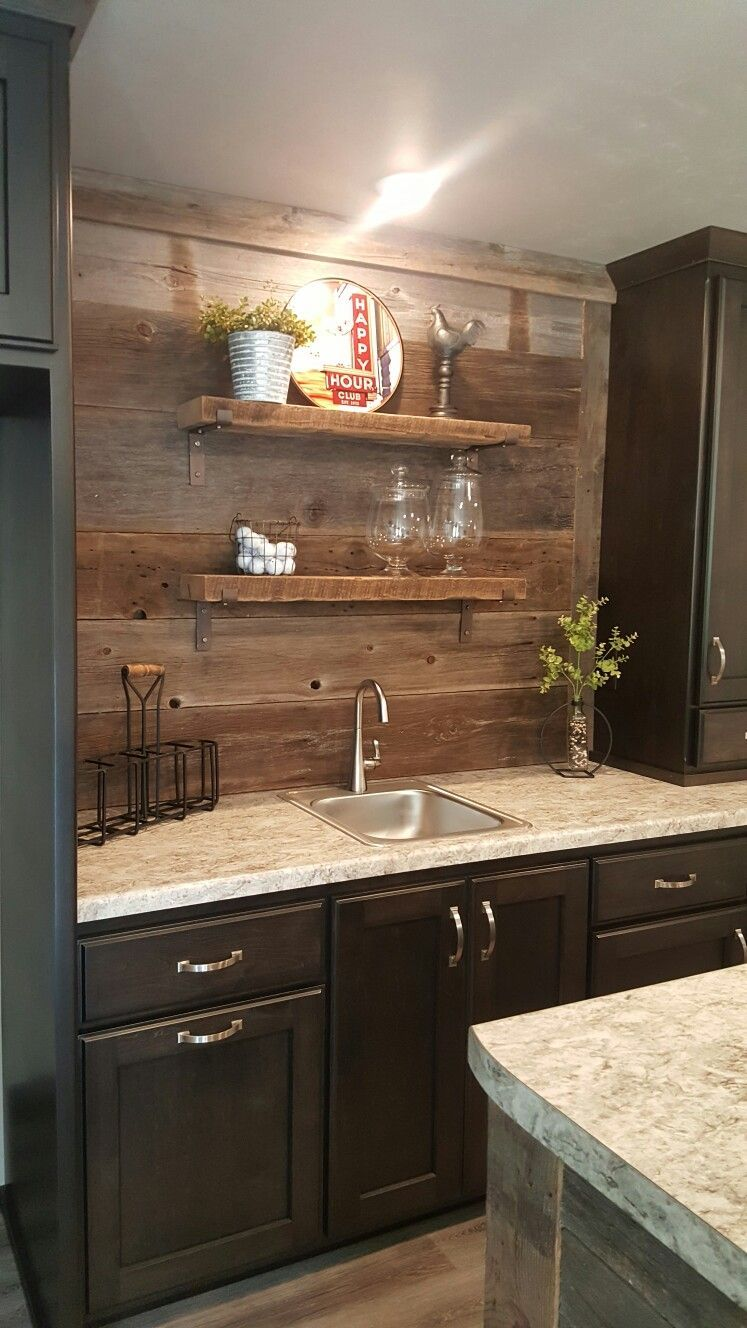 Kitchenette Back Wall Reclaimed Wood With Images Wet Bar